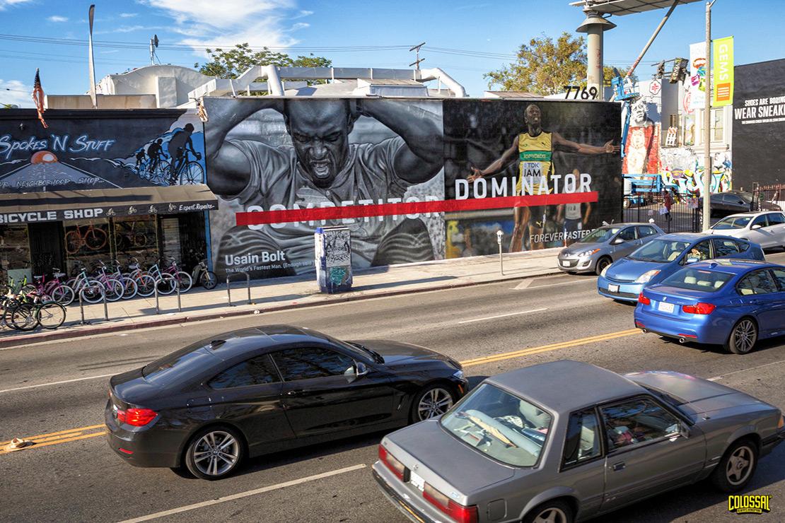 Hand painted advertising mural in Los Angeles